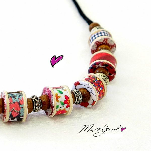 colorful recycled paper bead necklace with silver and wooden bead spacers