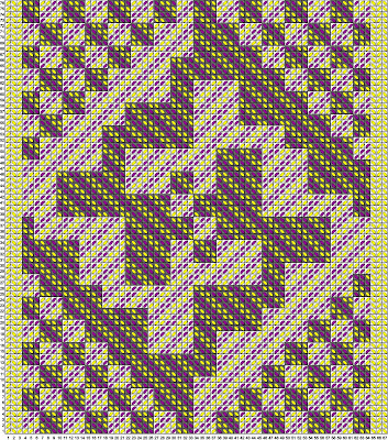 A completed Tablet Weaving Draft Designer draft in yellow and purple with intersecting diagonal lines