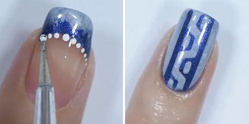 pintando bolinhas com esmalte branco nas unhas azuis