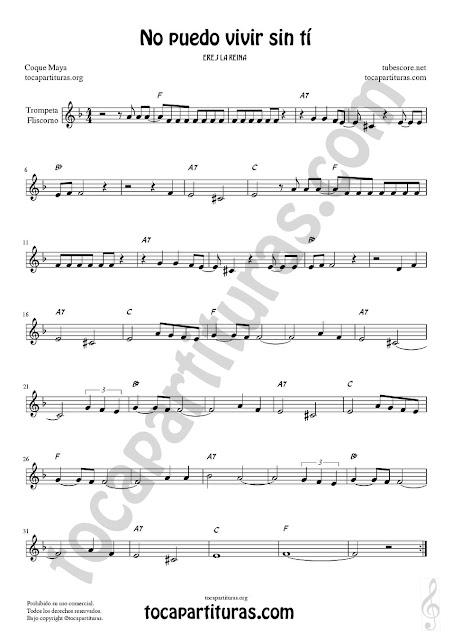 Trompeta y Fliscorno Partitura de No puedo vivir sin tí Sheet Music for Trumpet and Flugelhorn Music Scores