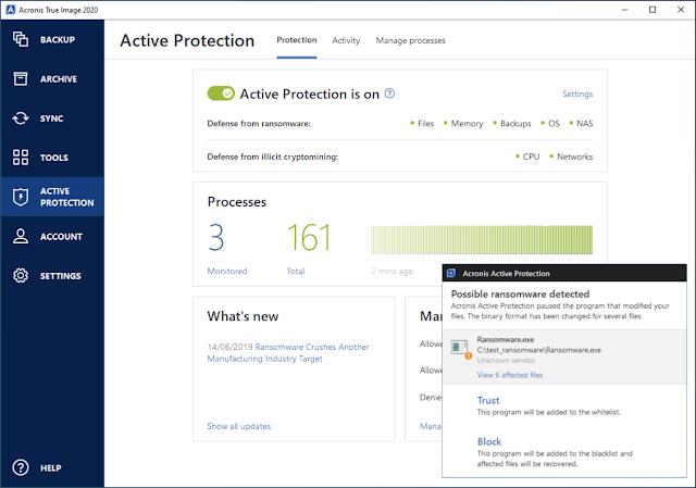 """قائمة """"الحماية النشطة"""" في برنامج Acronis True Image ransomware."""