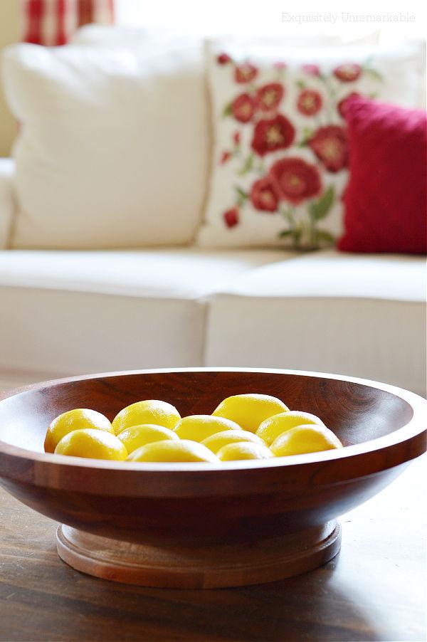 Lemons In A Wooden Bowl