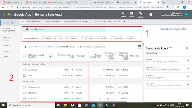 Halaman Google keyword Planner