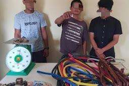 Polisi menangkap 3 orang tersangka Pencurian Kabel Optik Tiang Listrik PLN di Lhokseumawe