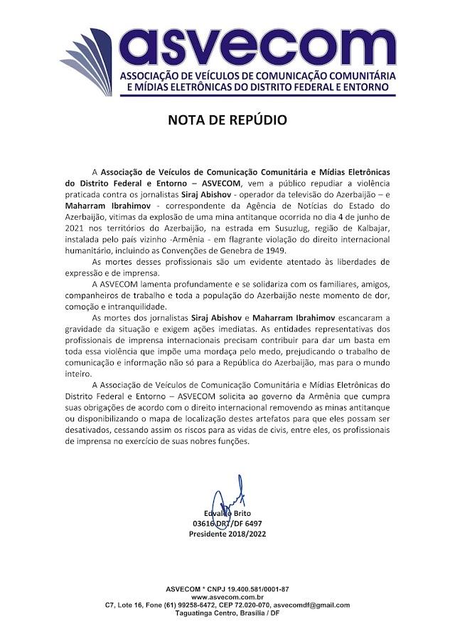 ASVECOM - Nota de Repúdio contra minas terrestres que mataram jornalistas no Azerbaijão