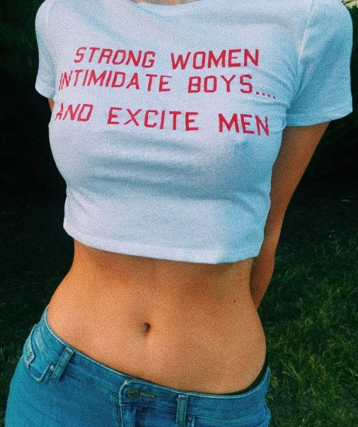 Strong Women Intimidate Boys and Excite Men (red letters version).  PYGear.com