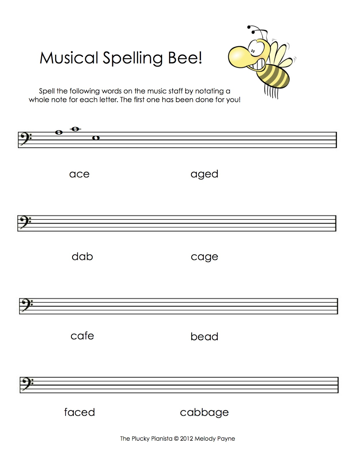 more musical spelling bees treble bass. Black Bedroom Furniture Sets. Home Design Ideas