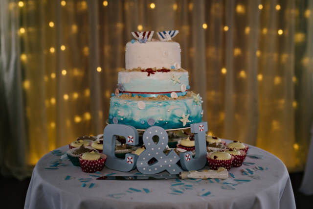 Vintage seaside wedding - seaside themed three tier cake