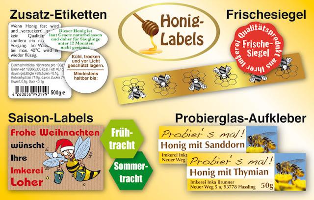 Honigetiketten ablösbar mit Wasser