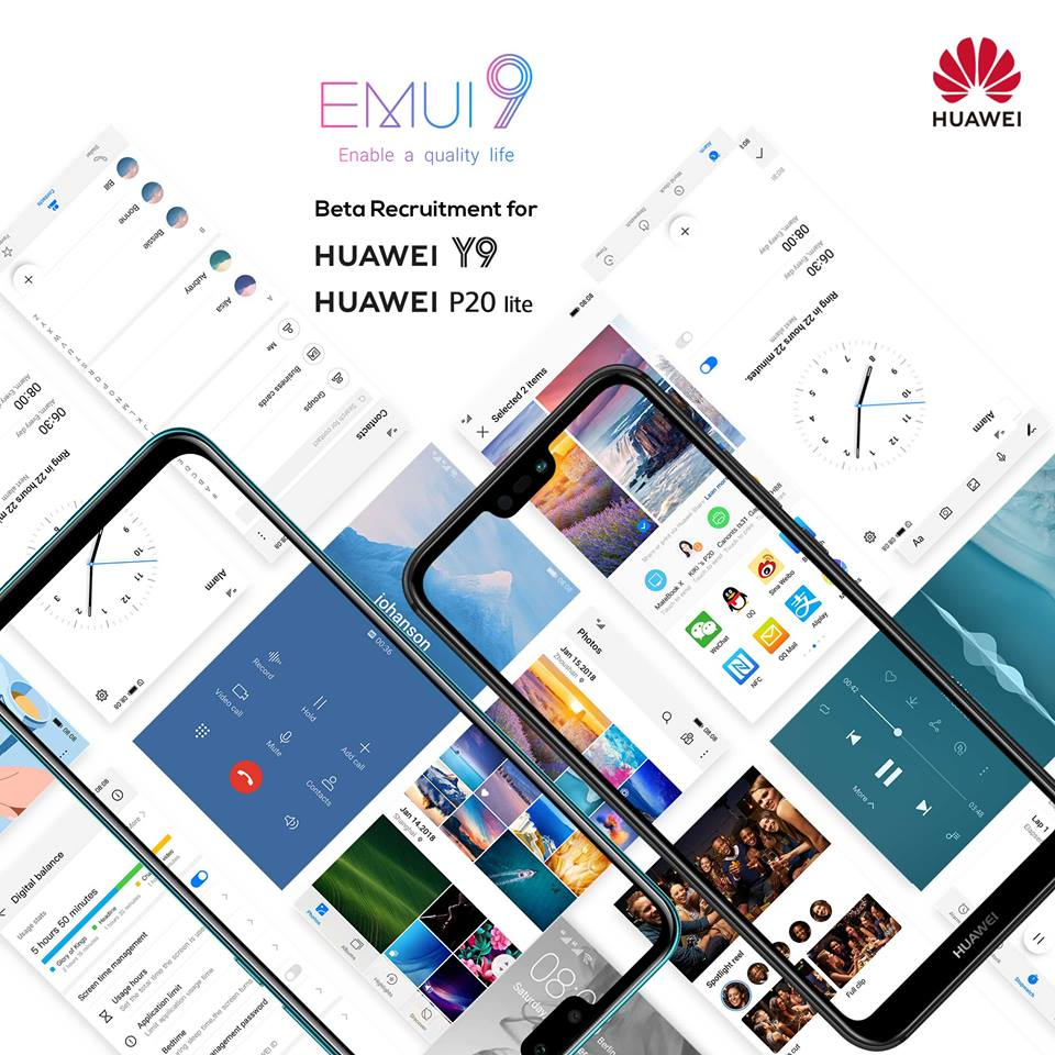 EMUI 9 0 Beta is available for the Huawei P20 Lite and Y9