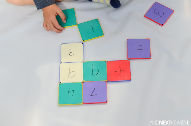 Math activity for kids using Magna-Tiles from And Next Comes L