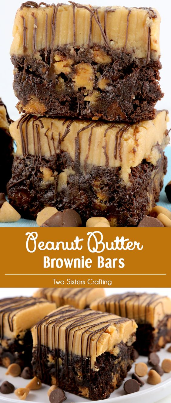 Our Peanut Butter Brownie Bars are brownies chock full of chocolate chips and peanut butter chips and topped with our Best Peanut Butter Buttercream Frosting.