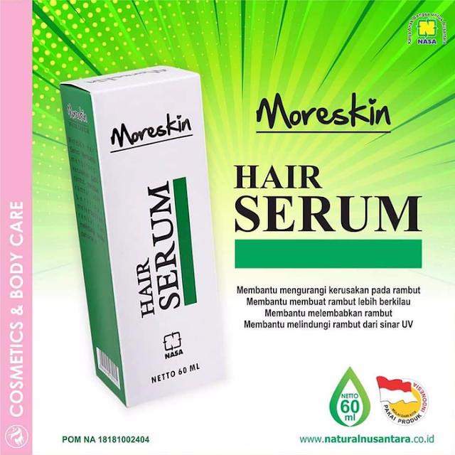 MORESKIN Hair Serum merupakan salah satu produk perawatan tubuh Nasa dari Moreskin Cosmetics yang bermanfaat untuk perawatan rambut, mengurangi kerusakan, dan melindungi rambut.