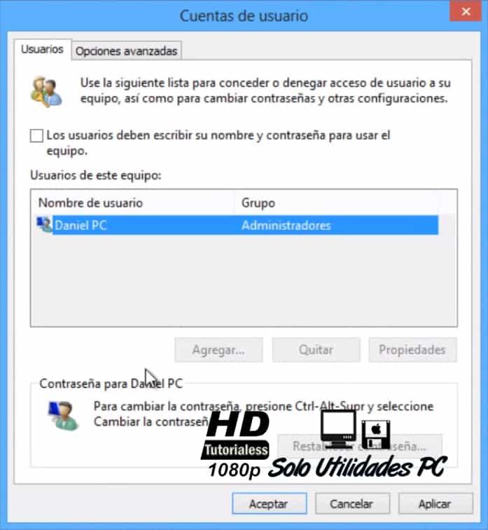windows 8 quitar contraseña inicio