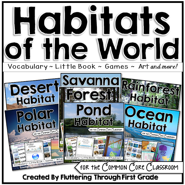 Habitats of the World lesson plans with vocabulary, little book research reader, games, art and more!