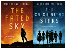Book covers - The Fated Sky and The Calculating Stars - have silhouettes of women .