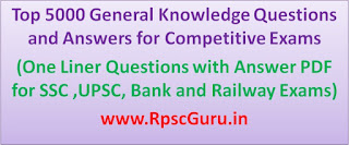 One Liner Questions with Answer PDF for SSC ,UPSC, Bank and Railway Exams