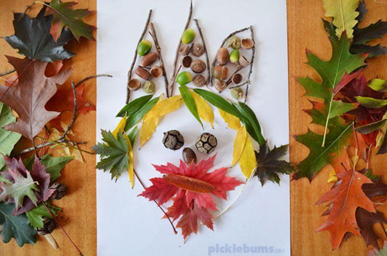 leaf faces nature crafts for kids