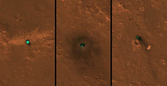 NASA's InSight spacecraft, its heat shield and its parachute were imaged on Dec. 6 and 11 by the HiRISE camera onboard NASA's Mars Reconnaissance Orbiter. Credits: NASA/JPL-Caltech/University of Arizona