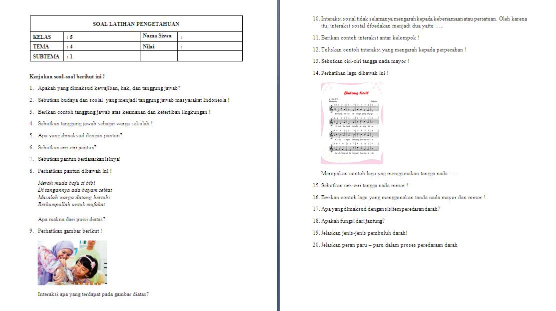 Soal ulangan harian kelas 5 SD/MI Tema 4