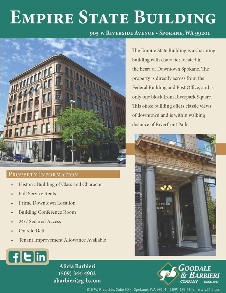 inland northwest business watch new tenants come to downtown spokane 39 s empire state building. Black Bedroom Furniture Sets. Home Design Ideas