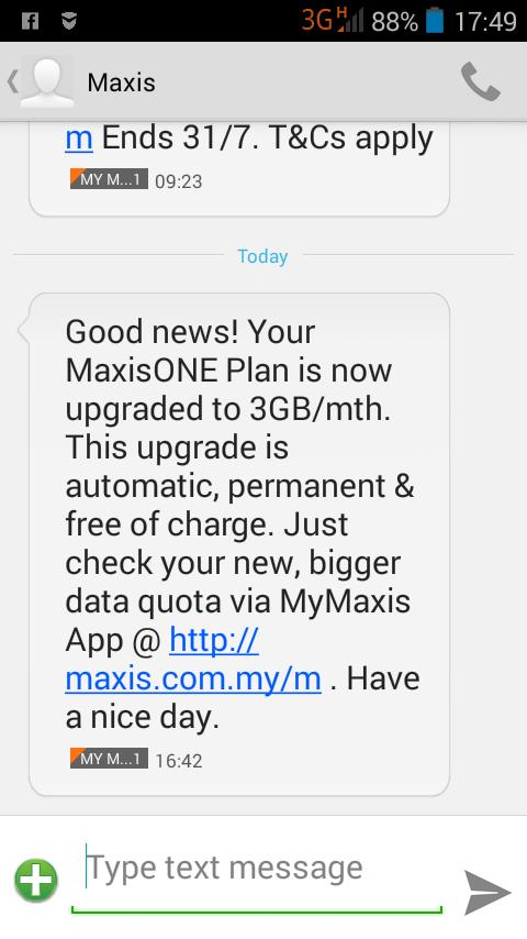 Pengguna MaxisONE Plan Dapat Upgrade Ke 3GB Percuma