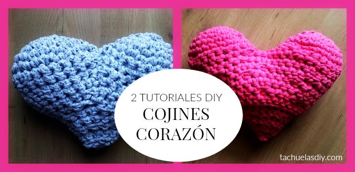 2 tutoriales diy para hacer a mano un cojín en forma de corazón con trapillo,ganchillo,crochet,lana,cuerda,etc... fáciles y únicos