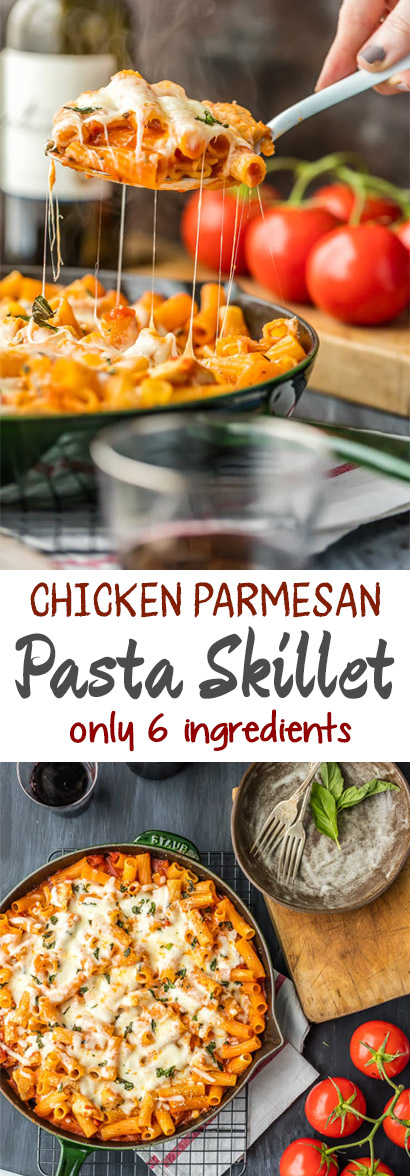 CHICKEN PARMESAN PASTA RECIPE (ONE PAN AND ONLY 6 INGREDIENTS!)