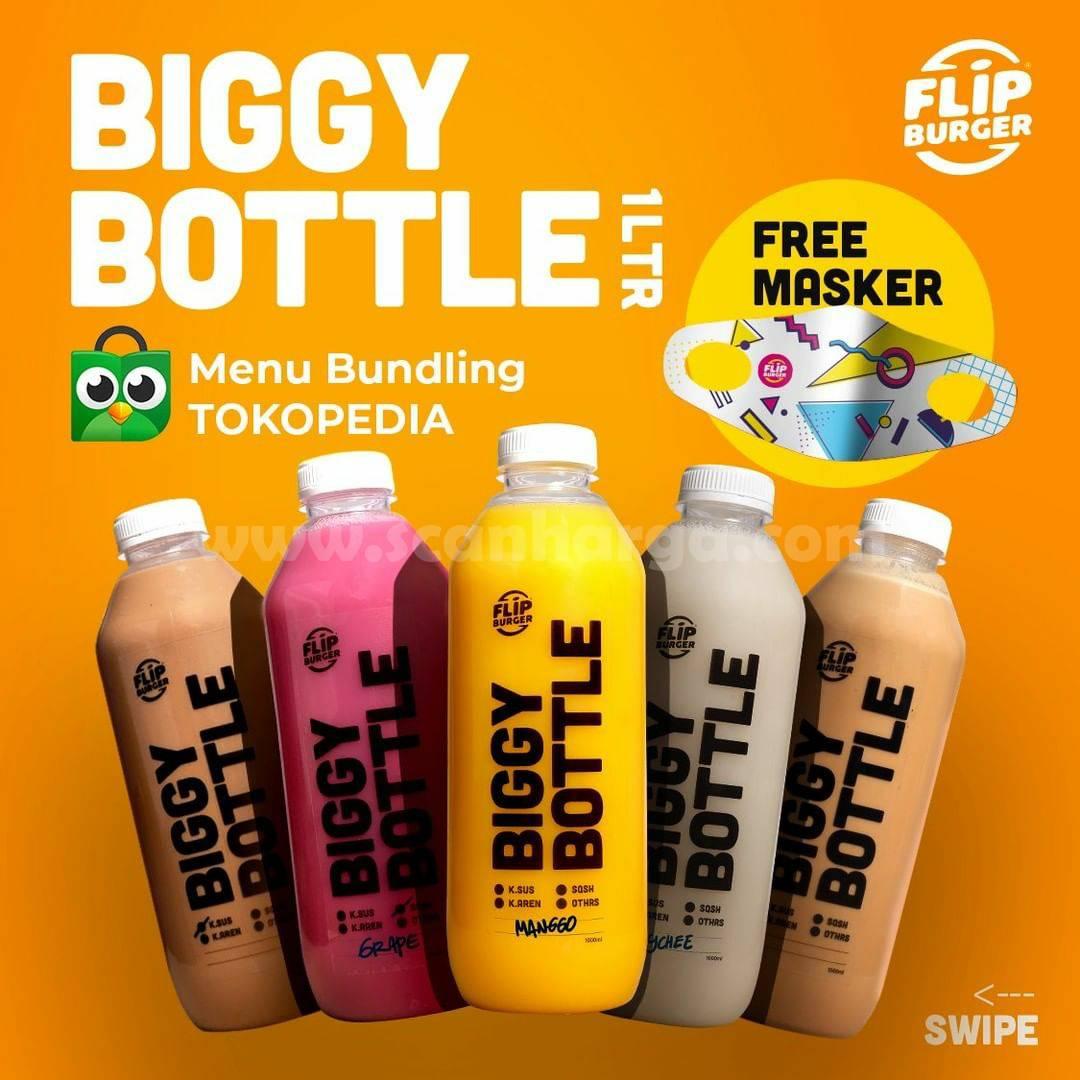 Promo Flip Burger BIGGLY BOTTLE 1 liter + Masker Gratis Order di Tokopedia