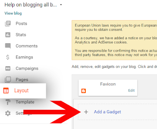 How to add the new gadget to blogger