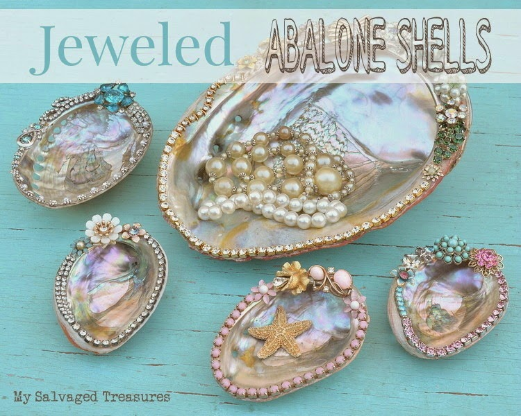 use bits and pieces of old jewelry to decorate abalone shells