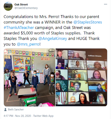 @OakStElementary shares news on a $5K award from Staples for @mrs_perro