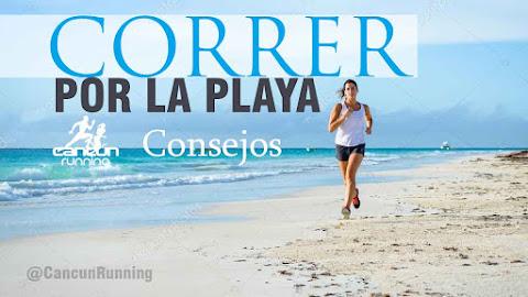 correr en la playa de Cancún
