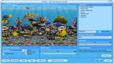 3D Fish School Screensaver 魚兒學院螢幕保護程式,超漂亮的立體熱帶水族箱!
