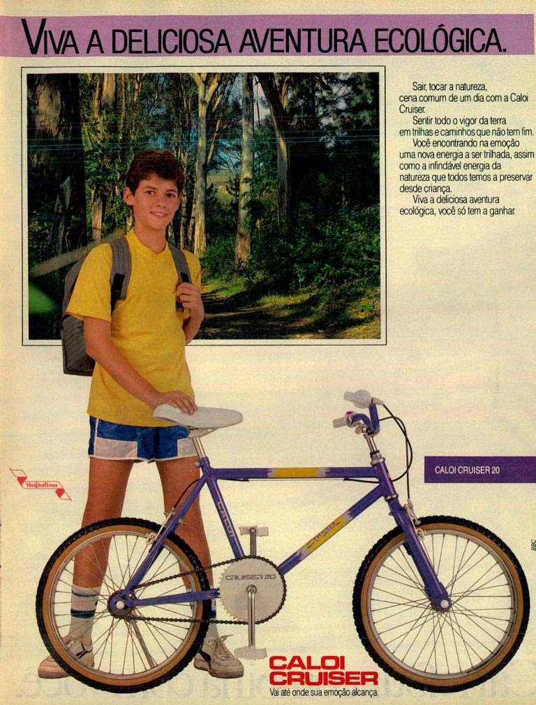 Propaganda antiga da Caloi nos anos 80 promovendo a linha de bicicletas Cruiser
