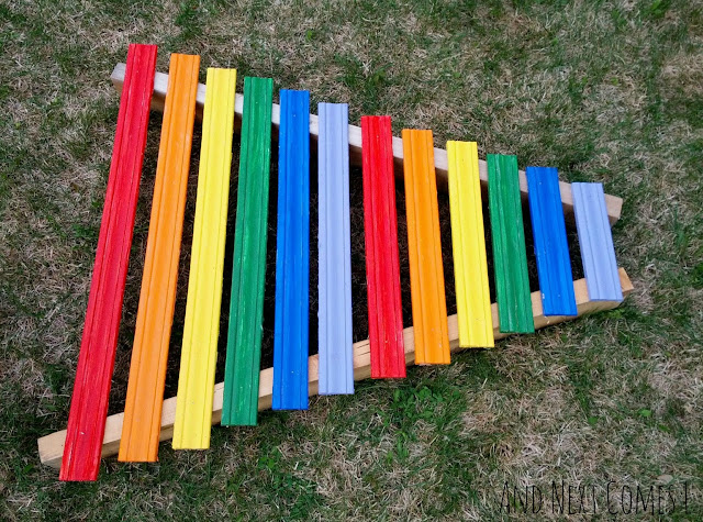 Rainbow xylophone tutorial: how to make a homemade xylophone for kids