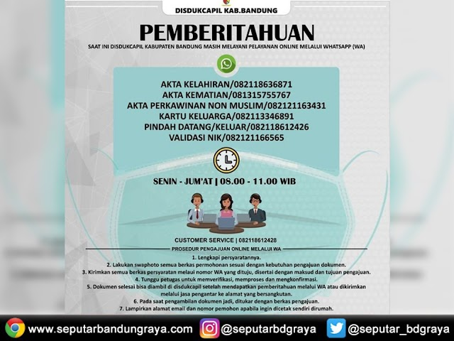 Ini Nomor WhatsApp Layanan Dokumen Kependudukan Disdukcapil Kabupaten Bandung
