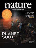 Nature cover showing arti of TRAPPIST-1 exoplanet system