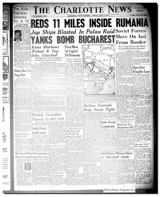 Newspaper heading April 4 1944 Reds 11 miles inside Romania