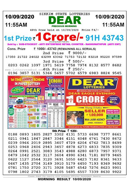 Lottery Sambad Today 10.09.2020 Dear Precious Morning 11:55 am
