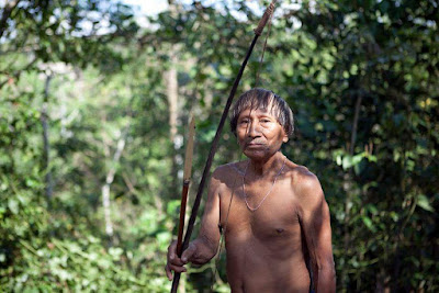 A Matses tribesman going to hunt in the Peru/Brazil border | Amazon Explorer Iquitos Peru