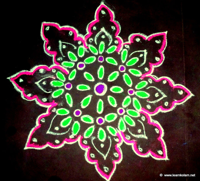 Easy free hand flower kolam