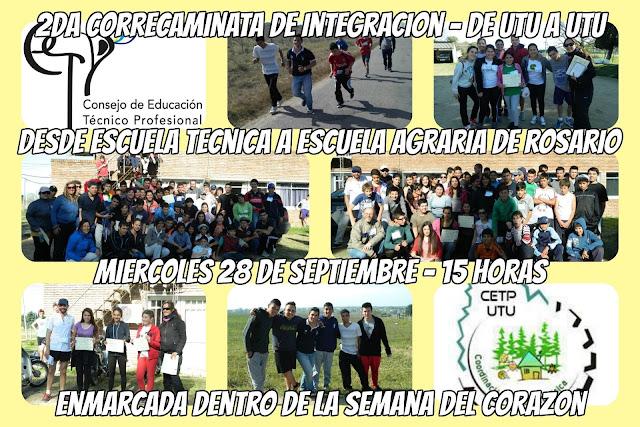 2,5k Correcaminata de integración de UTU a UTU en Rosario (Colonia, mi 28/sep/2016)