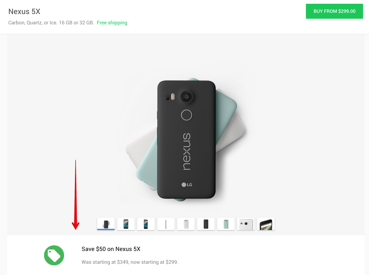 Google Cuts Nexus 5X Price To $299 On Google Store