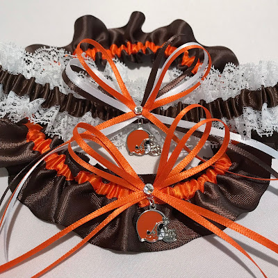 Cleveland Browns Wedding Garter Set by Sugarplum Garters