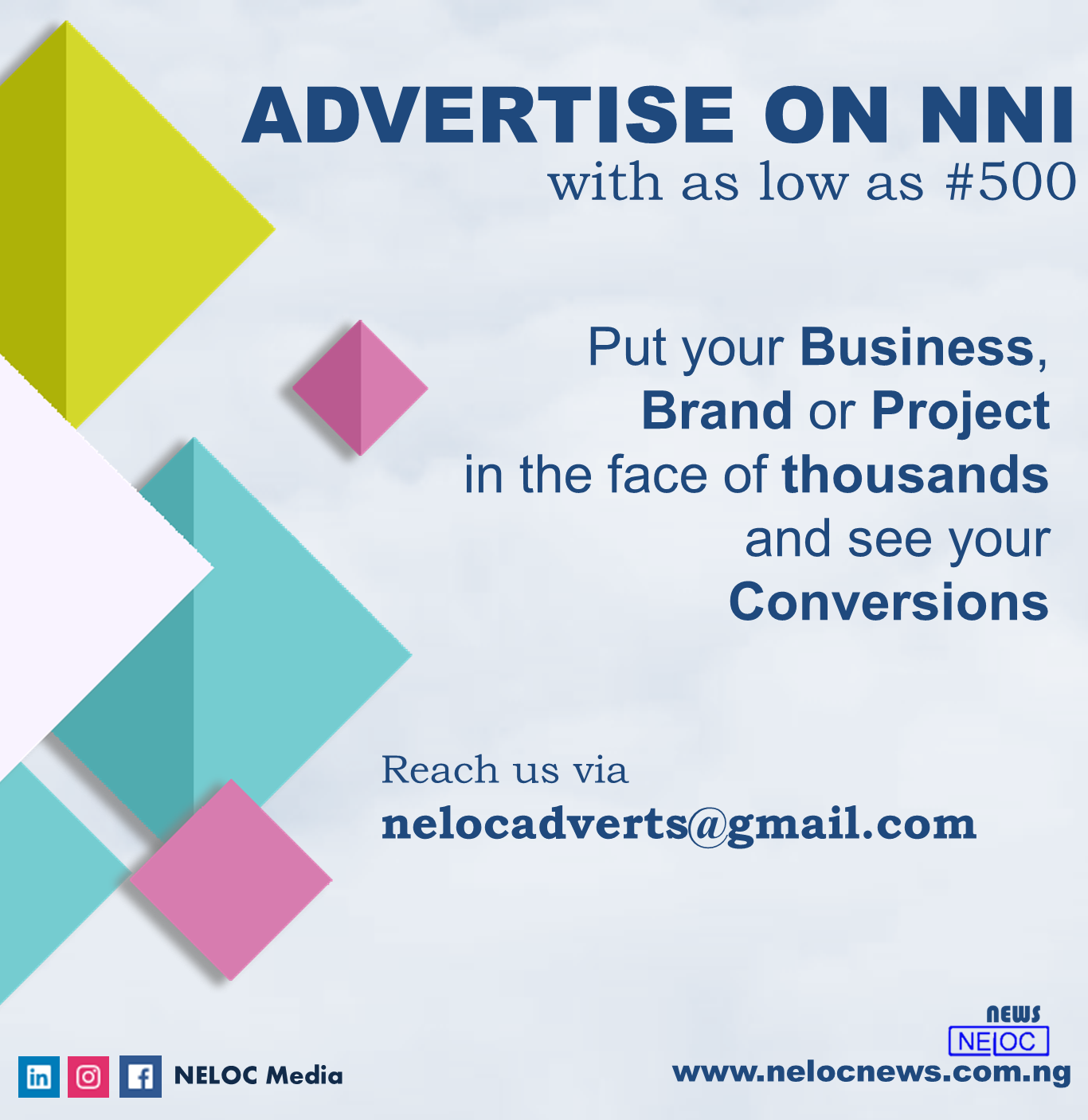 Advertise with the NELOC News International Mobile App