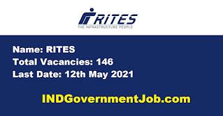 RITES Recruitment - 146 Graduate,  Diploma, Trade Apprentice - Last Date: 12th May 2021