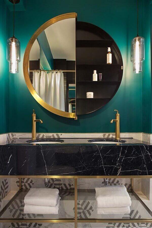Modern round mirror design for luxury bathroom