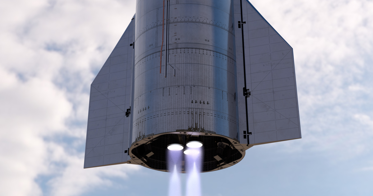 Renders of SpaceX Starship SN8 launch, landing and mid-flight by Bart Caldwell