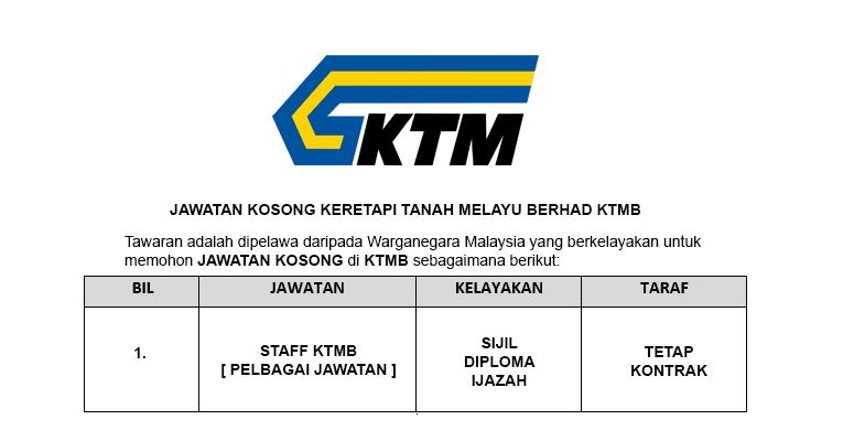 Keretapi Tanah Melayu Berhad KTMB [ Pelbagai Jawatan Dibuka ]